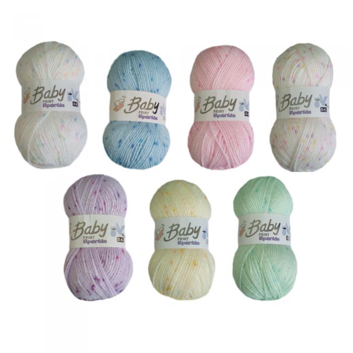 5 x 100g Woolcraft Baby Prints Wool Babycare DK Double Knitting /& Crochet Yarn