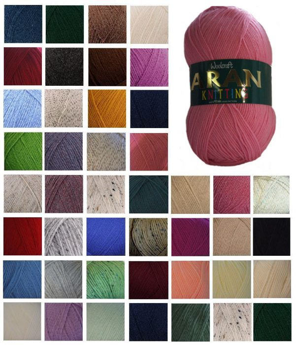 Aran Wool Woolcraft Aran 400g Knitting Yarn Acrylic Or Wool Mix 40